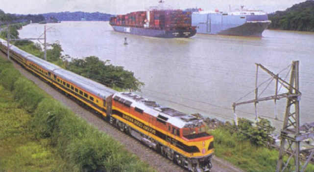 Panama Railroad, in addition to its primary business of moving containers across the isthmus, provides limited passenger service.  [Photo courtesy of Panama Canal Authority from its newsletter, El Foro, 2-24 July 2004]